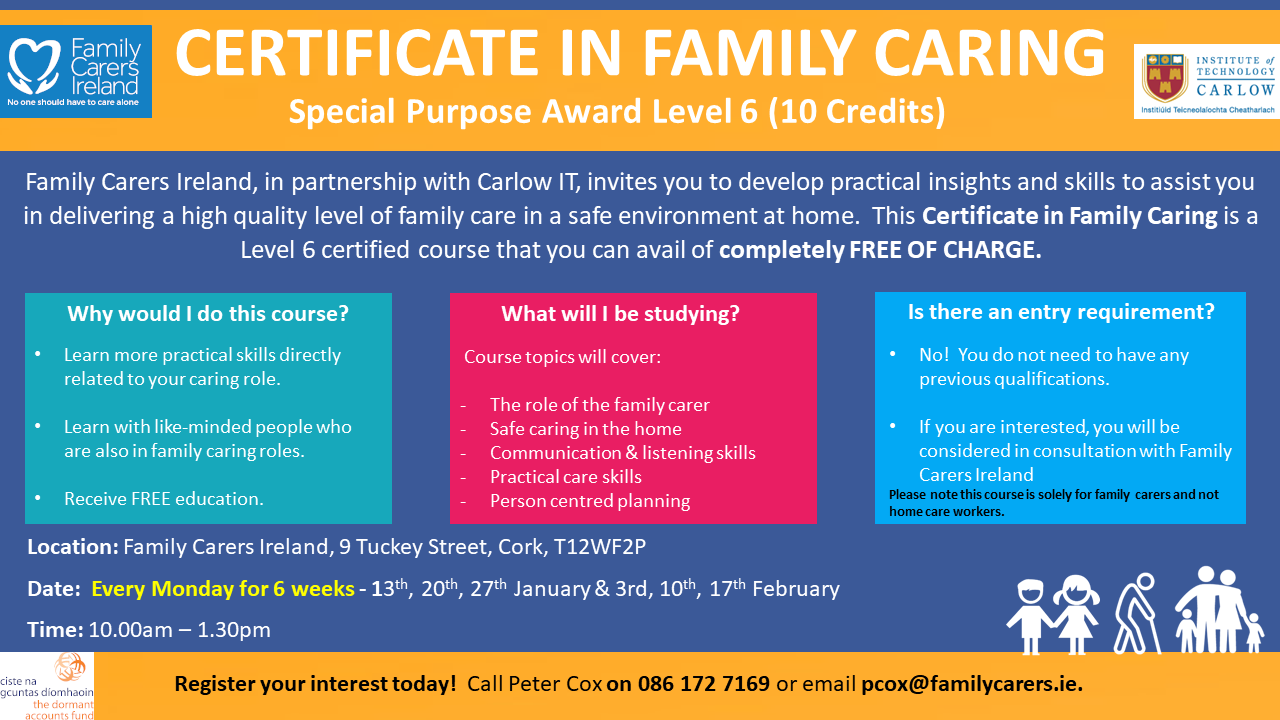 Certificate-in-Family-Caring-Course-Cork-Poster